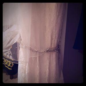 Wedding dress, belt and veil